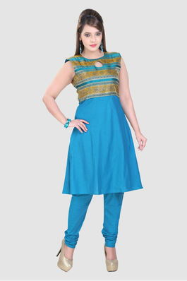 Blue and Mustard keyhole design in cotton silk