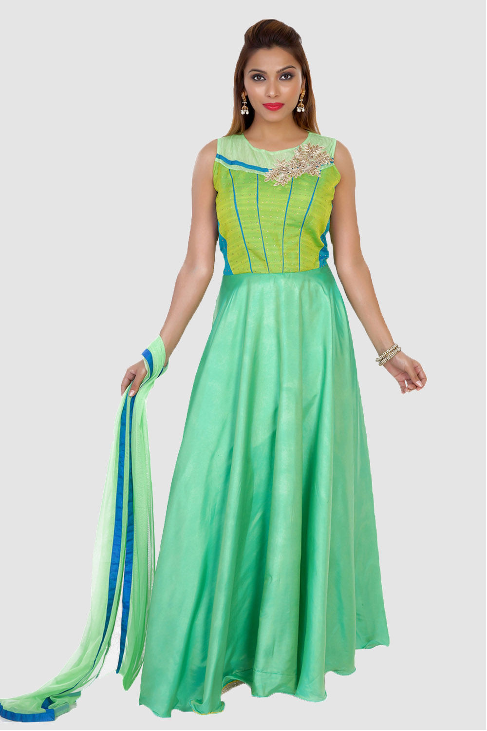 Mint Green and Blue Indo-Western Anarkali