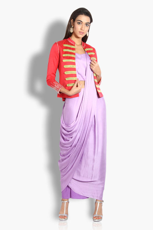 Draped Stitched Saree with Jacket
