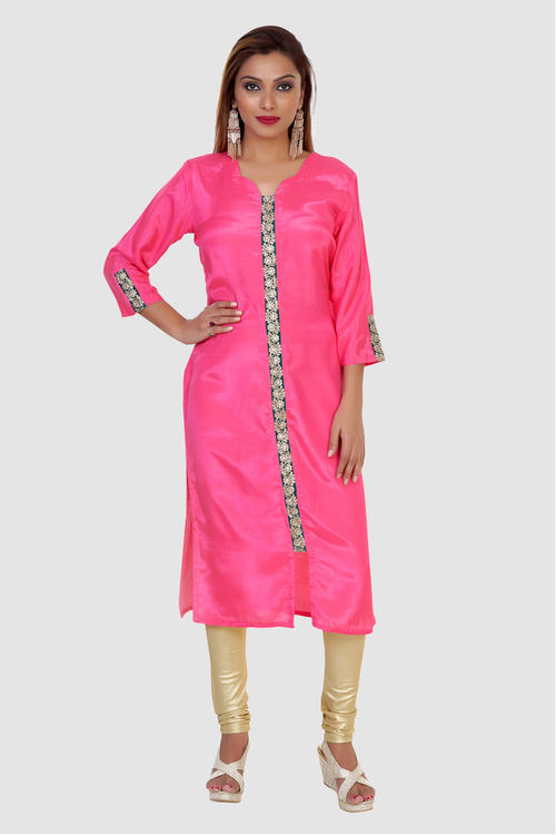 Cotton Silk Kurti with Zari Lace