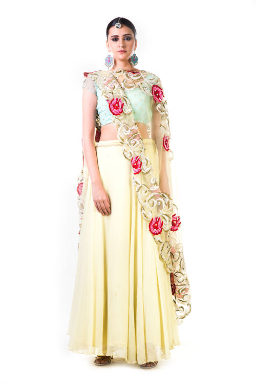 Lemon Green Chiffon Lehenga with a Sea Green Blouse and Multicolour Dupatta
