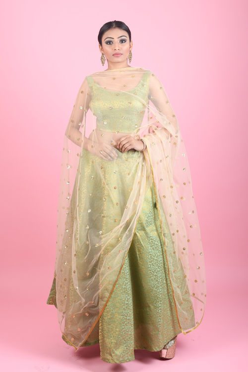 Green Brocade Lehenga Set