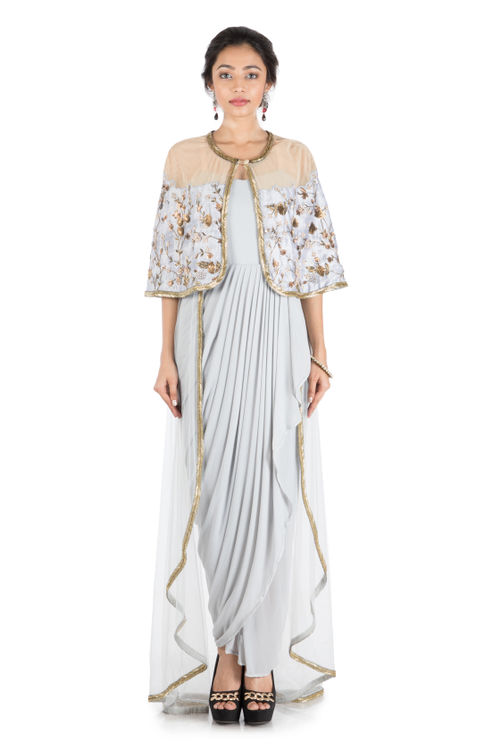 Ice Grey Cape and Trail Style Drape Gown