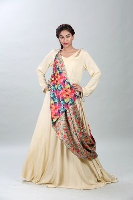 Anarkali with a reversible wrap around