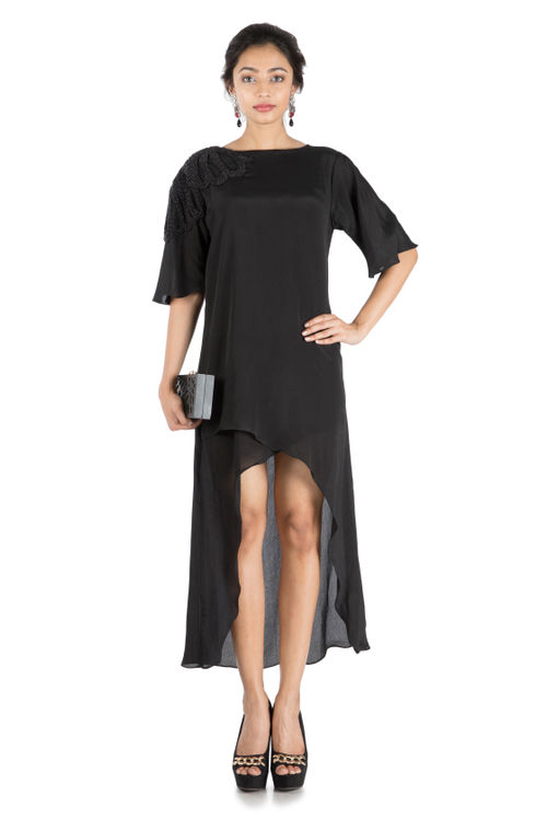 Black Long Short Overlaping Tunic
