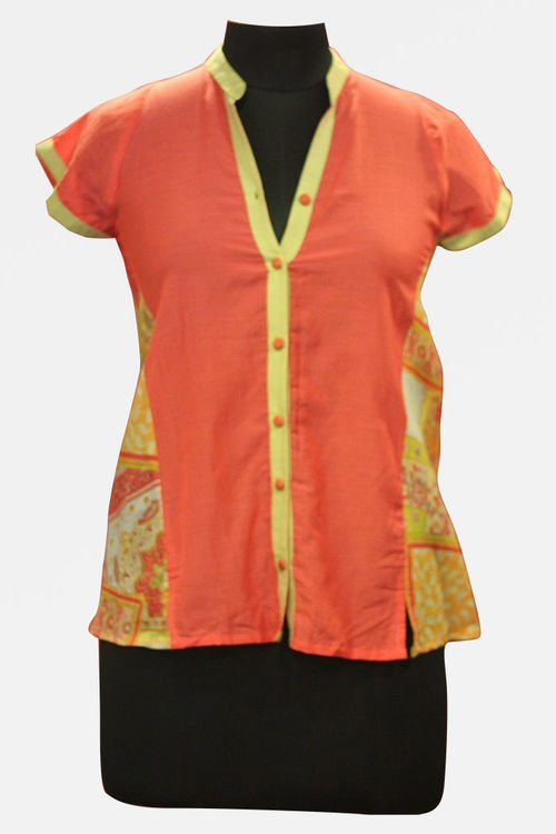 Pink and Lime Green Silk Voile Panel Shirt