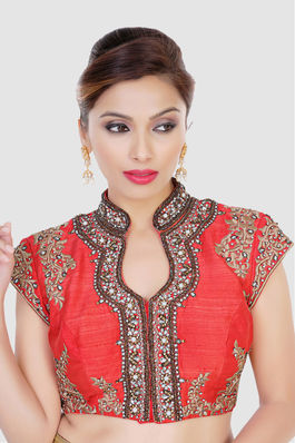 Coral Blouse with pearls and studs