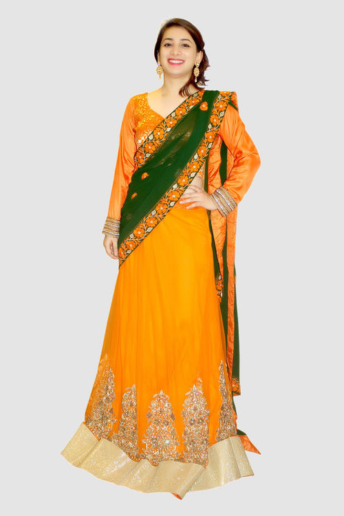 Orange & Green Lehenga with attached Saree