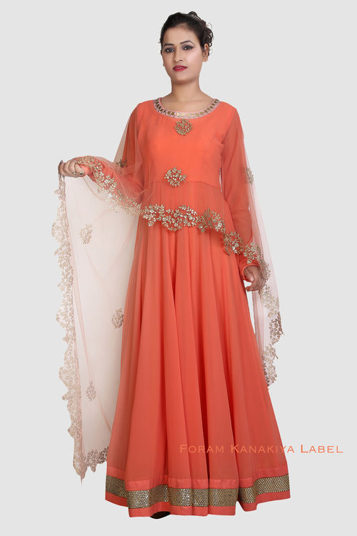 Orange Georgette Indo-Western Gown