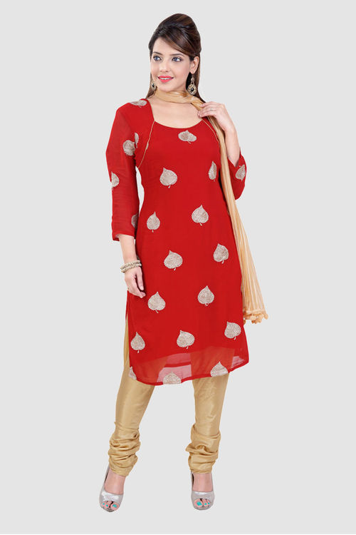 Red Georgette dress with zardozi leaves