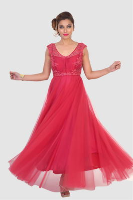 Red Gown in Net