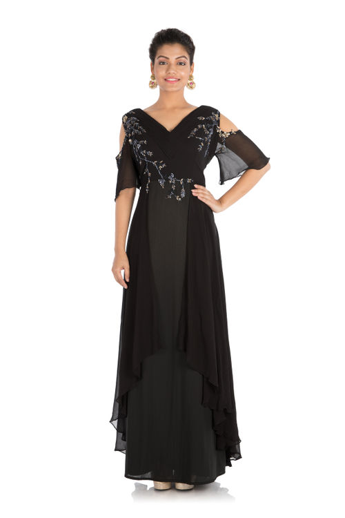 Jet Black Cold Shoulder Gown