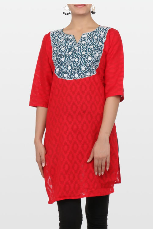 Red Cotton Jacquard Kurti