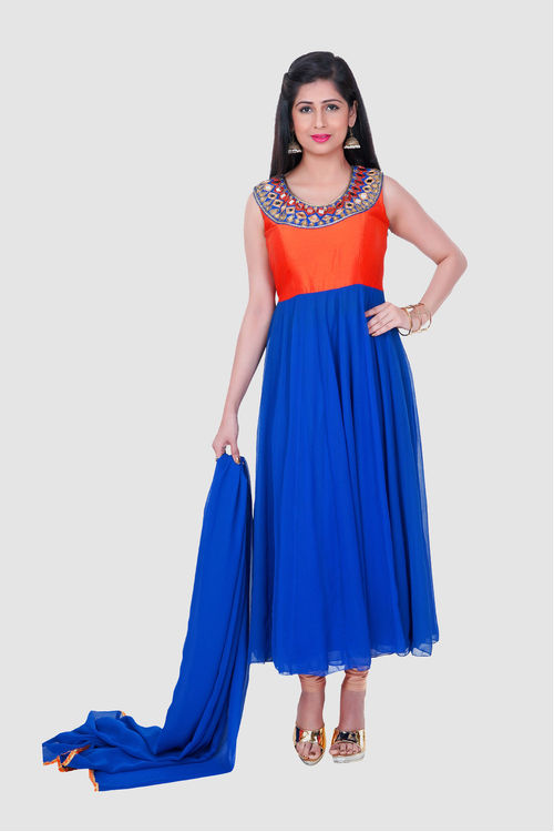 Georgette and Raw Silk Anarkali