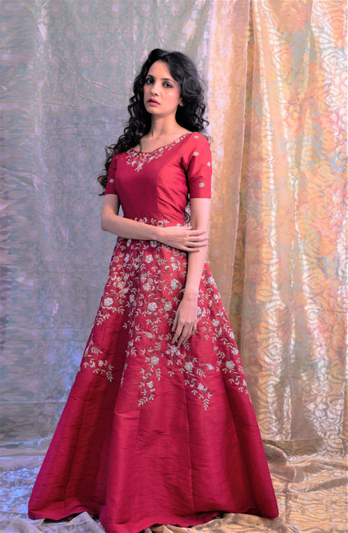 Hand Embroidered Jute Silk Gown