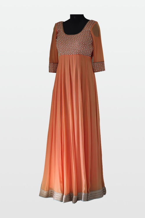Peach Georgette Gown with pearl and diamond embroidery