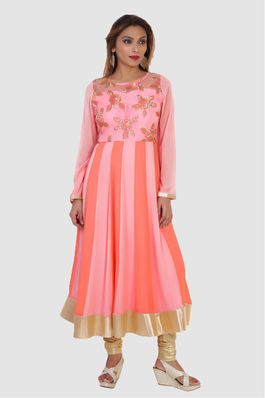 Peach and Baby Pink Anarkali