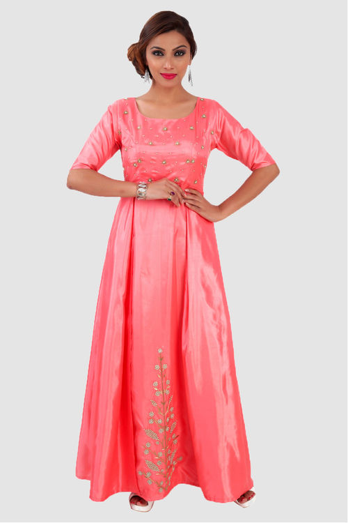 Hand embroidered Pink Silk Gown