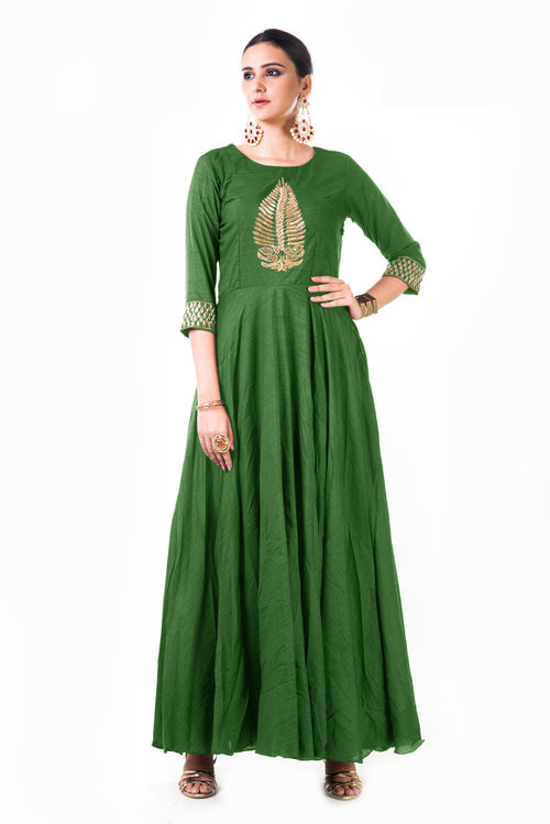 Leaf Hand Embroidered Silk Anarkali Gown