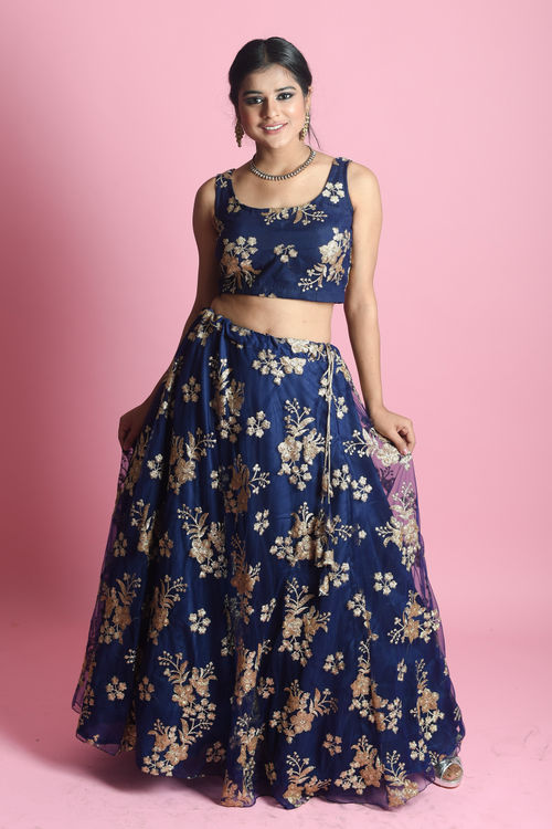 Dark Blue Lehenga Set