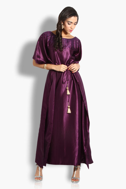 Satin Kaftan Dress with Tassels