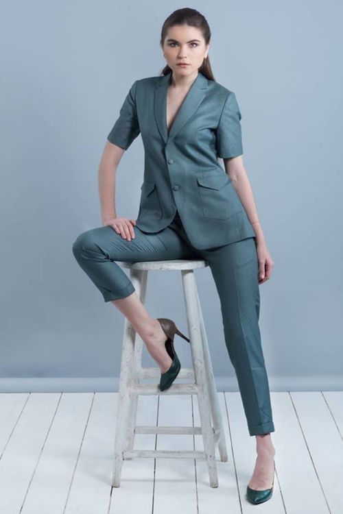 Green Checked Pant Suit