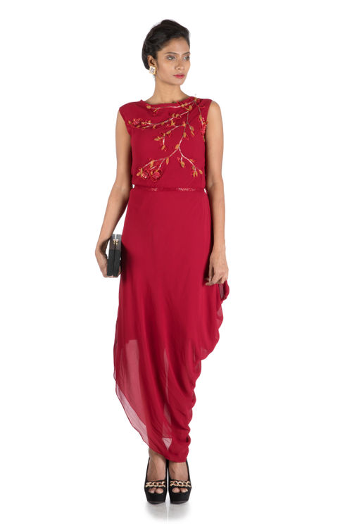 Wine Drape Dress With Embroidered Belt