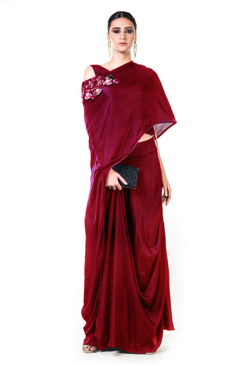 Draped Gown with a Hand Embroidered Cape Dupatta