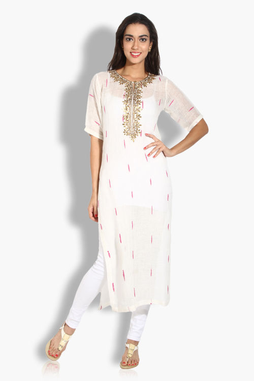 Linen Cotton Work Kurta
