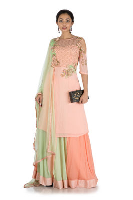 Pastel Peach & Green Sharara Set With Attached Dupatta
