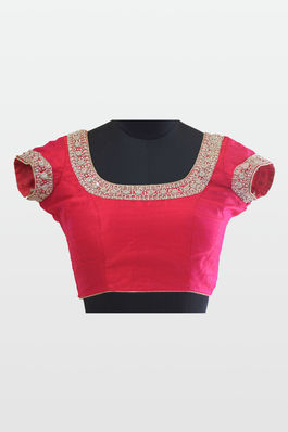 Raw Silk Blouse with Moti and Kundan work