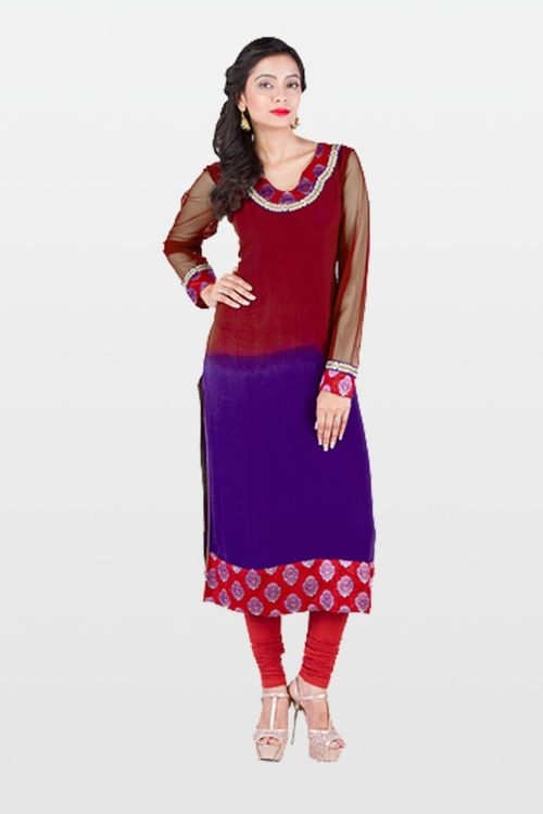 Red and Purple Georgette Kurti