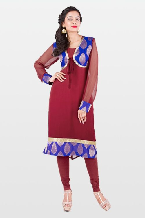 Maroon and Electric Blue Georgette Kurti