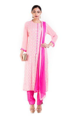 Light Pink And Fuschia Suit Set With Ciggarate Pant.
