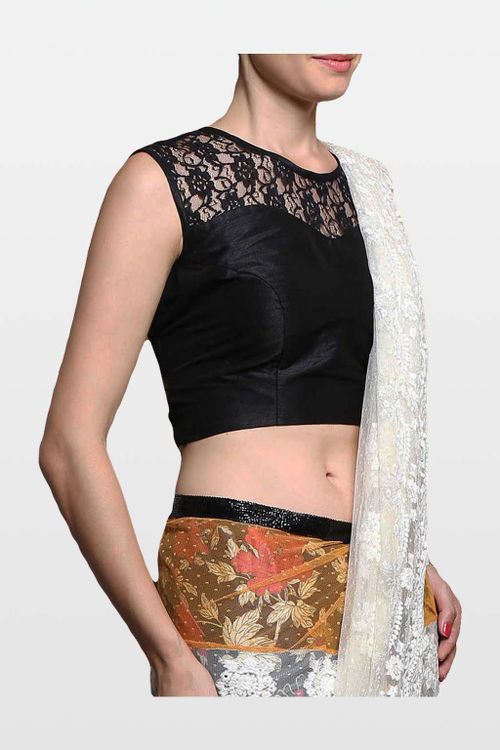 Black Brocade Blouse