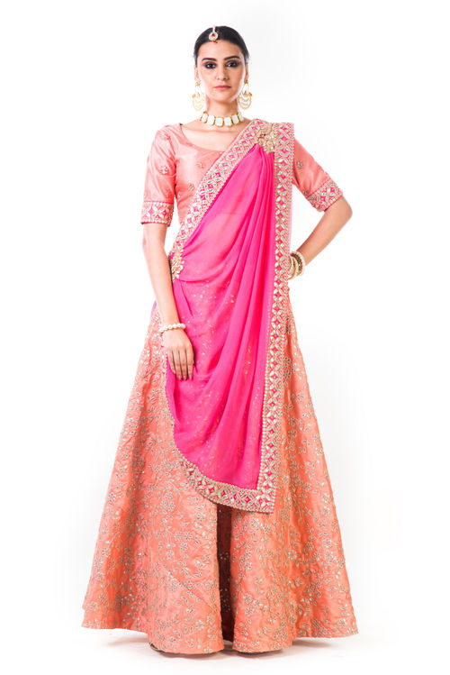 Peach Work Lehenga With a Chiffon Draped Dupatta and Hand Embroidered Silk Gota Blouse