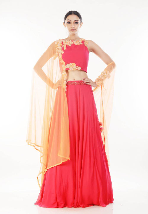 Rani Pink Crop Top & Lehenga Set