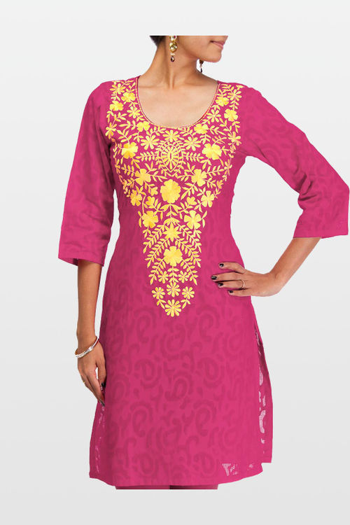 Pink Embroidered Cotton Jacquard Kurti