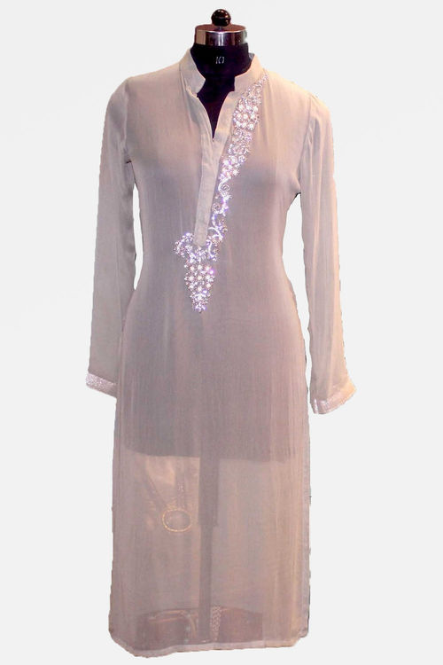 Pearl and stone embroidered grey georgette Kurti