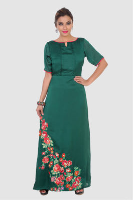 Crepe Satin Maxi with Floral Applique