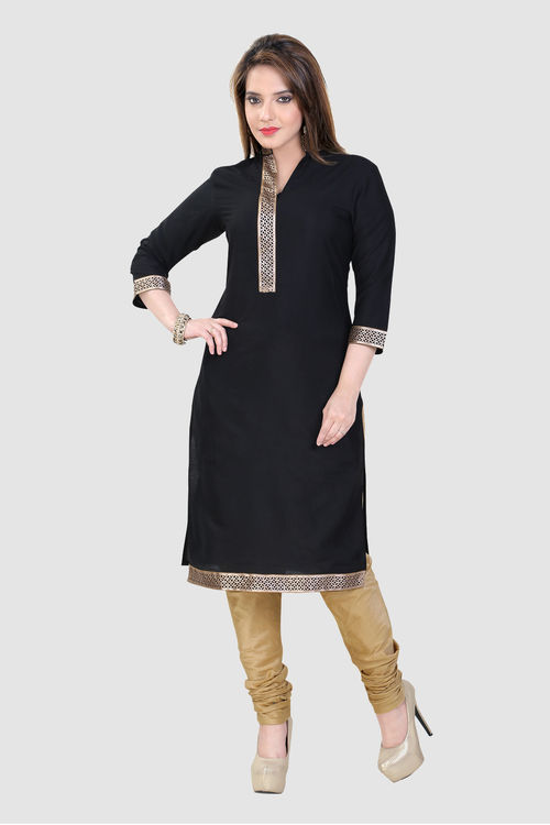 Black Banarsi Cotton Kurti with cutwork lace