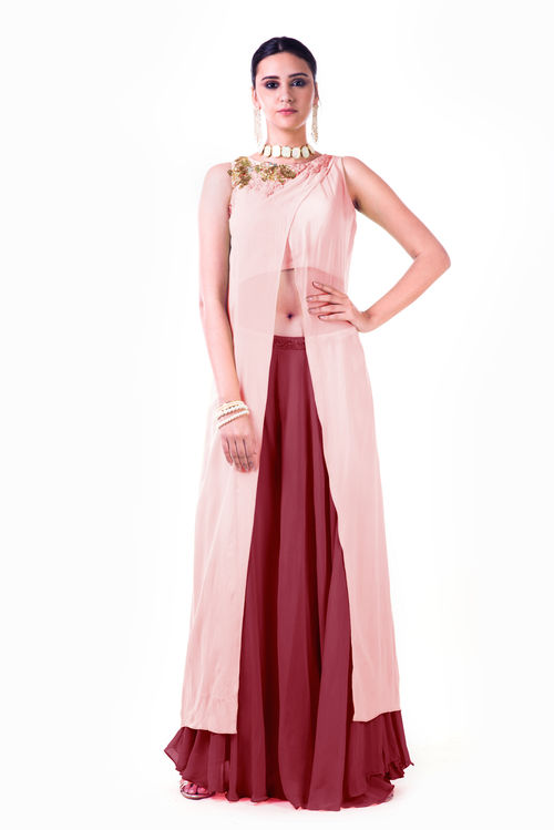 Overlapped Crop Top with Palazzo Pant