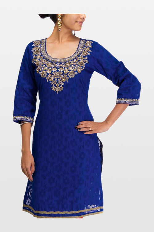 Pretty Look Cotton Jacquard Kurti