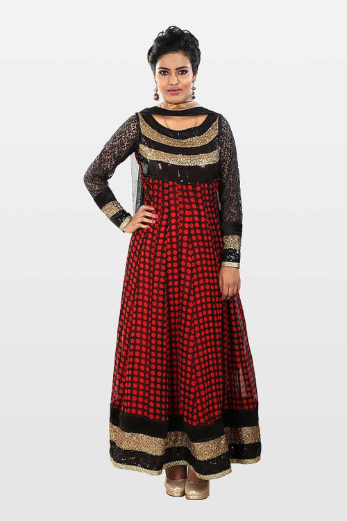 Red and Black Retro Anarkali