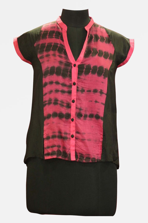Black and Pink shaded Silk Voile Shirt