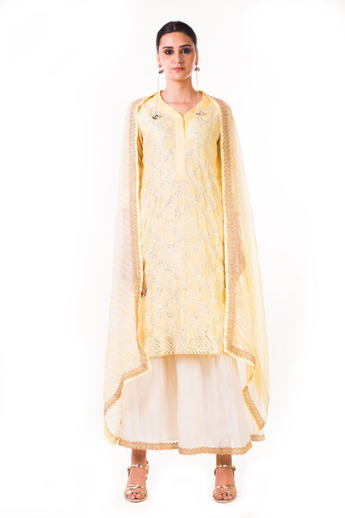 Light Yellow Gota work Chanderi Kurta and Chanderi Pallazo Pants with a Lehriya Dupatta