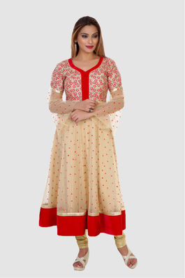 Gold and red Anarkali