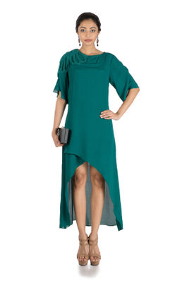 Pine Green Long Short Overlaping Tunic