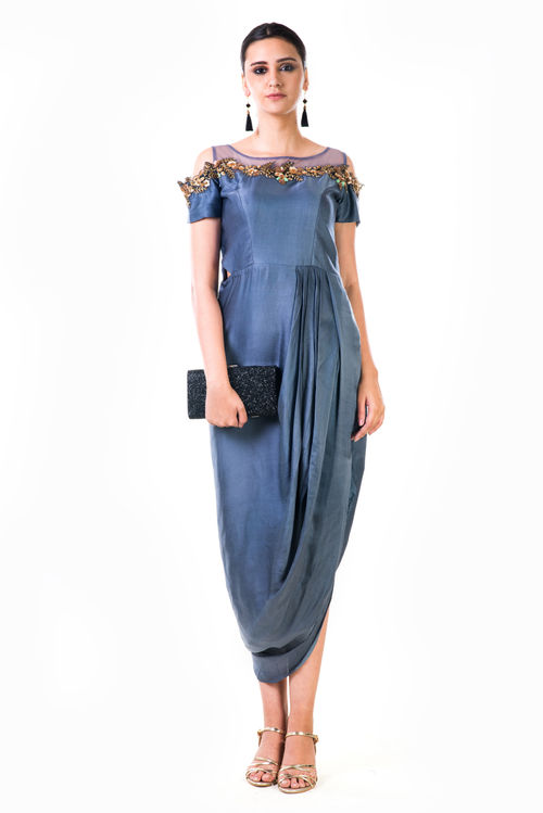 Hand Embroidered Cold Shoulder Draped Gown