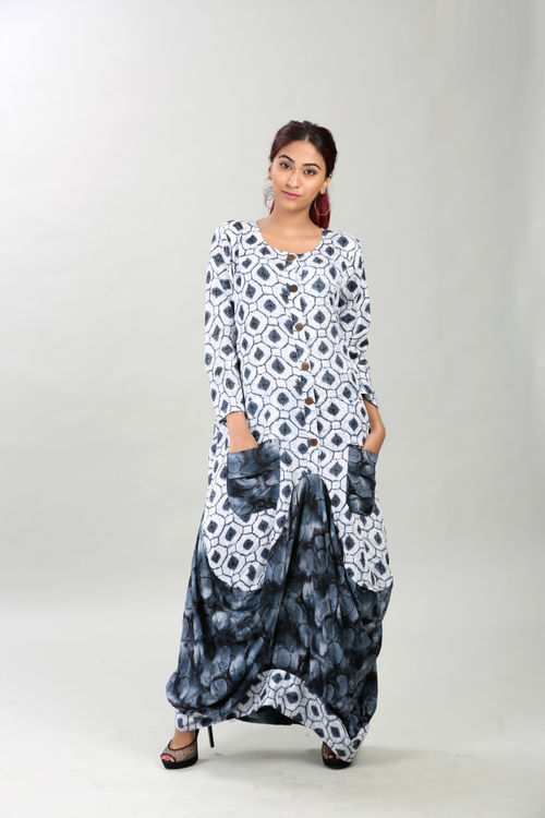 Printed dhoti style cowl dress